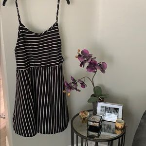 Striped black and cream dress